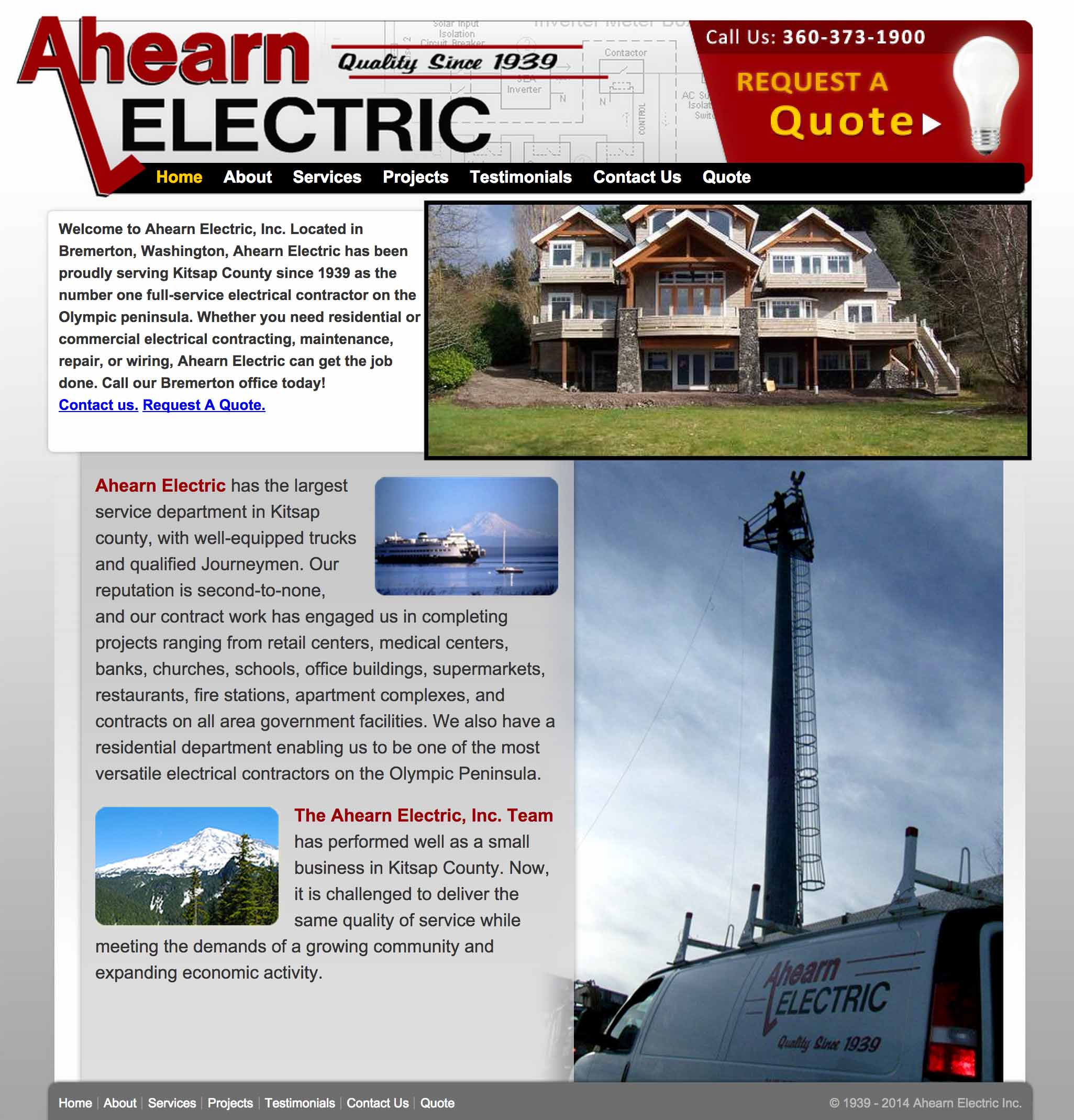 Screen shot of the Ahearn Electric web site by Lee Powers.