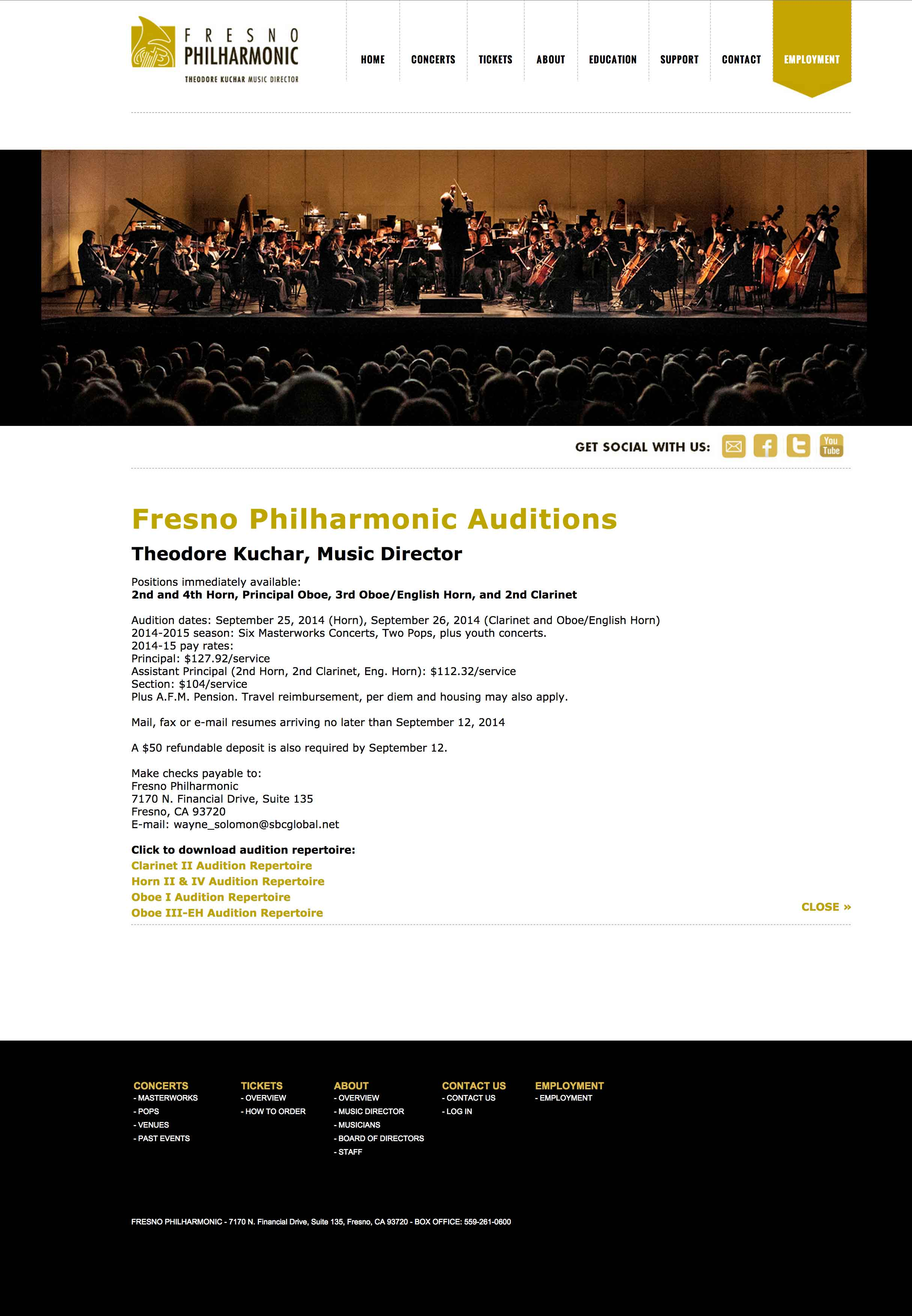 Screen shot of the Fresno Philharmonic web site by Lee Powers.