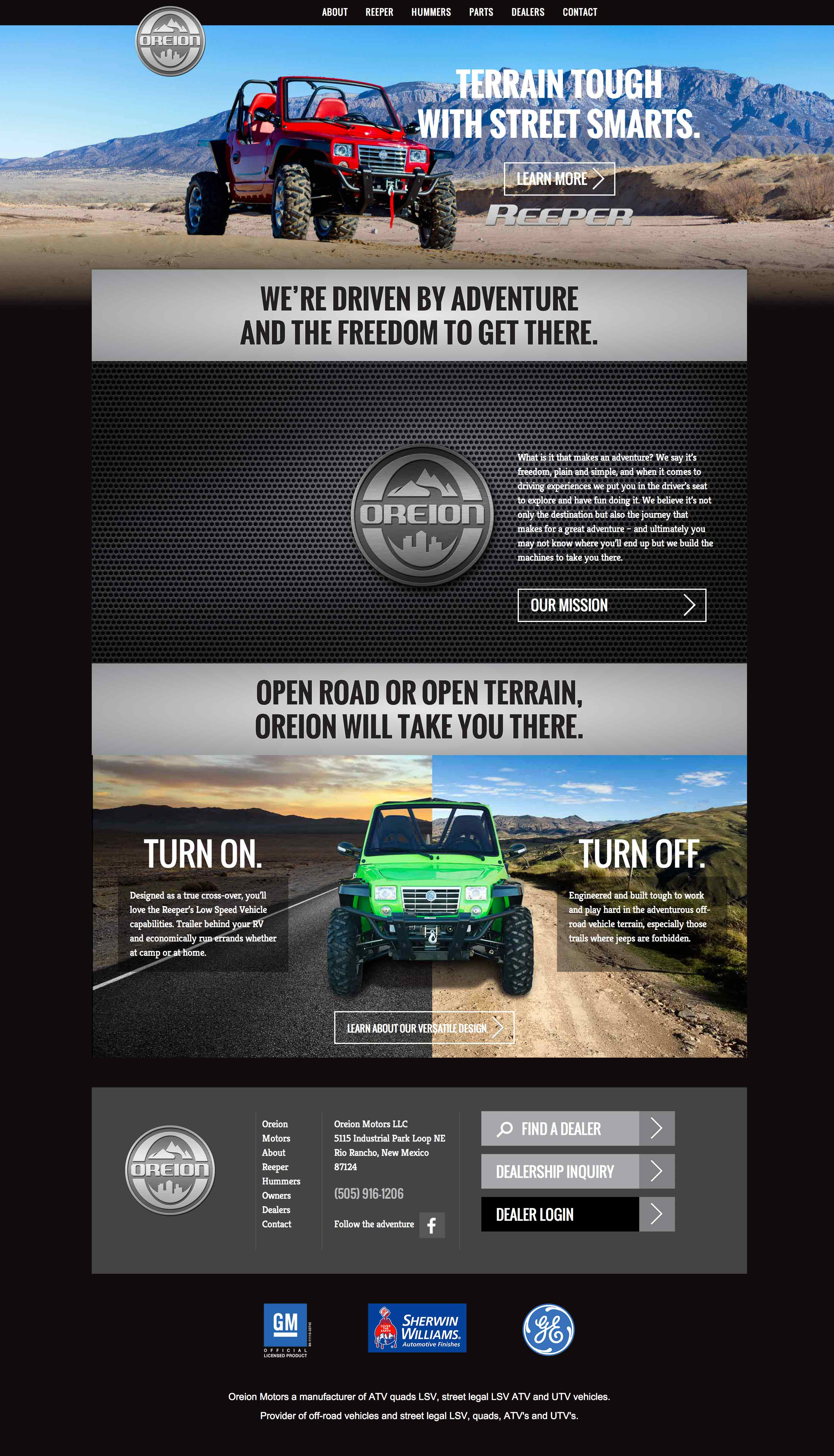 Screen shot of the Oreion Motors web site by Lee Powers.
