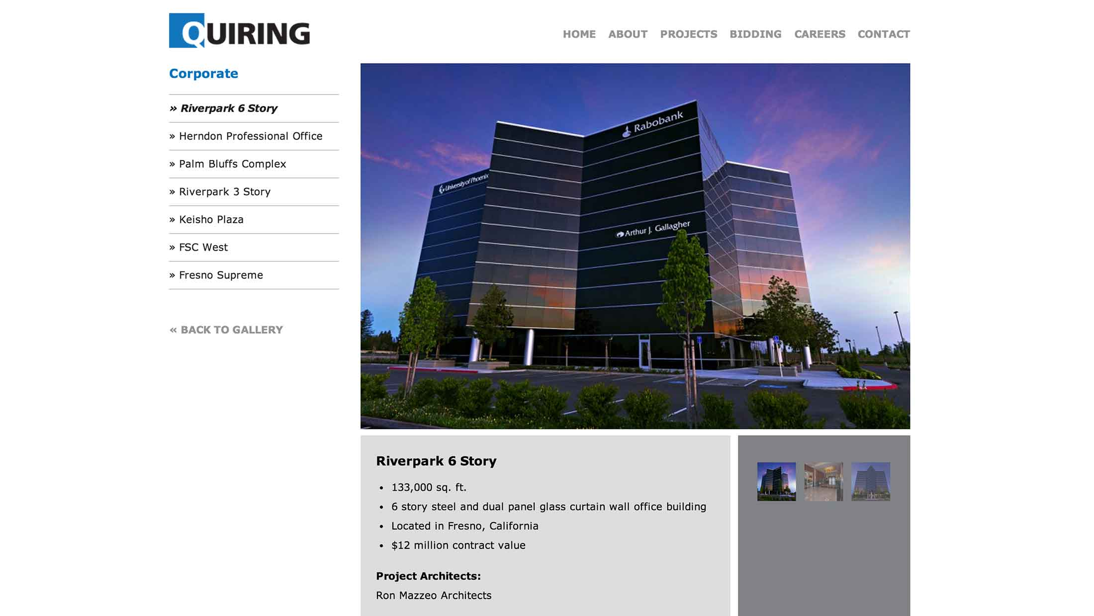 Screen shot of the Quiring Wordpress web site by Lee Powers