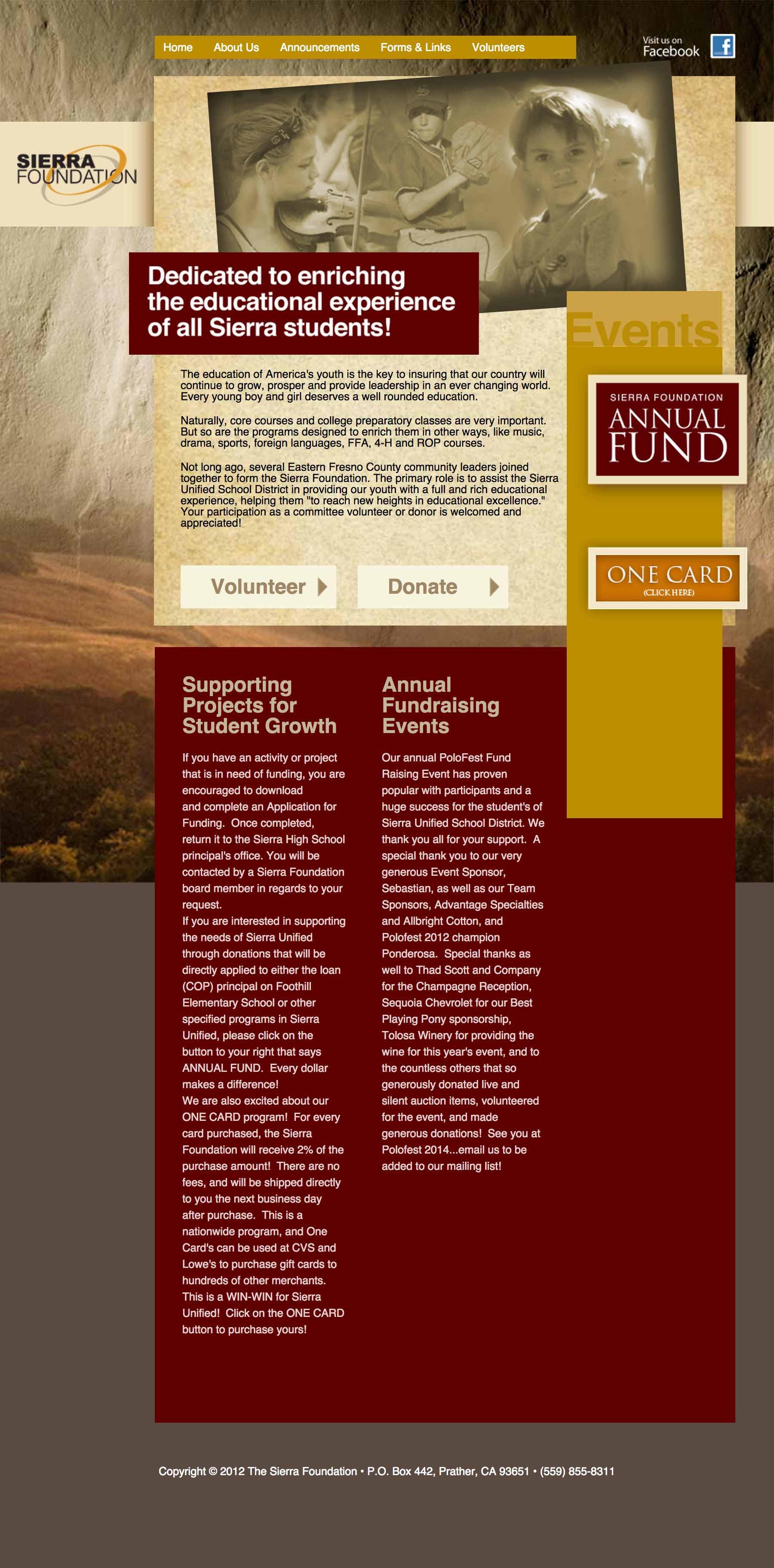 Screen shot of the The Sierra Foundation web site by Lee Powers.