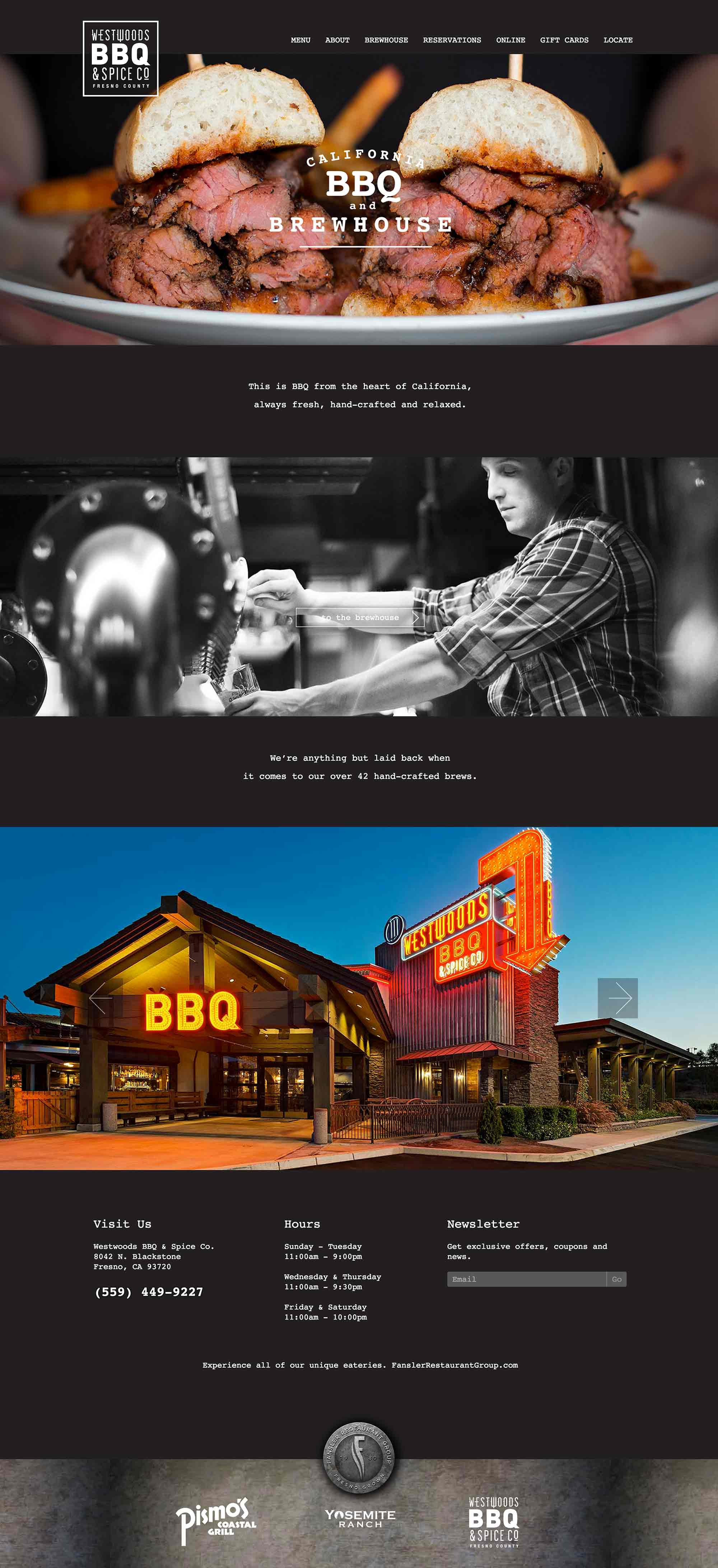 Screen shot of the Westwoods BBQ web site by Lee Powers.